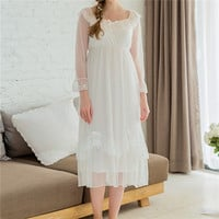New Arrivals Women Vintage Nightgowns Solid Ladies Dresses Princess Sleepwear Soft Lace Home Dress Comfortable Nightdress #HH34