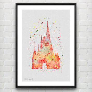 Cinderella's Castle Disney Watercolor Art Print, Princess Poster, Baby Nursery Wall Art, Home Decor, Not Framed, Buy 2 Get 1 Free! [No. 95]