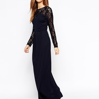 Warehouse Lace Sleeve Maxi Dress