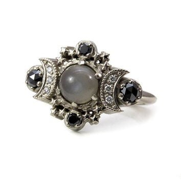 Grey Moonstone Cosmos Engagement Ring - Black and White Diamond Gothic Jewelry
