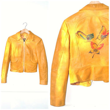 small NUBUCK leather jacket / vintage 1970s tiny fitted BUTTERFLY embossed retro BOHO cropped tan hippie moto jacket