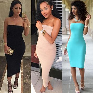 Fashion Sexy Women Summer Strapless Slim Stretch Bodycon Party Club Dress Slesveless Beach Bandeau Tube Short Mini Dress