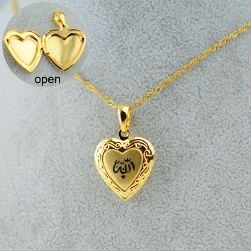 Heart Allah Necklace Pendant for Women Muslim Necklaces Jewelry For Men - Gold Plated Islam Chain Necklaces Prophet Muhammad