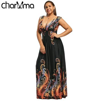 Summer Paisley Plunge V Neck Bohemian Plus Size Women Dress Casual Beach Maxi Dress Big Size 3XL 4XL 5XL Elegant Party Dress 7XL