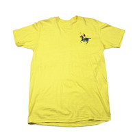 Vintage 1980s Polo Graphic Yellow T-Shirt Made in USA Mens Size Medium