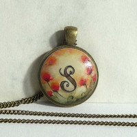 Letter Art Necklace, Poppies Painting, Personalized Necklace, Hand Painted Charm Antique Bronze Bezel Necklace, Poppy Art Monogram, Artdora