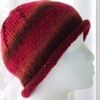 Knit Beanie with Roll Brim Sunset