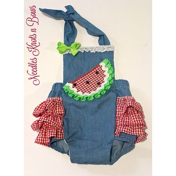 Girls Watermelon Romper, Girls Watermelon Birthday Outfit, Cake Smash, Twin Girls Watermelon Outfit