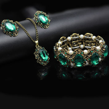 2017  vintage bronze plated jewelry set Royal blue green crystal necklace earrings bracelet birthday gift to wife mum 1105