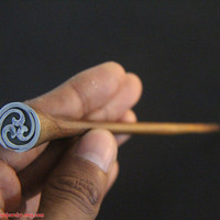 Wooden Hair Stick w Tribal Stainless Chrome inlays Design, Single Leg Wood Hair Accessories