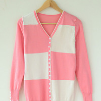 Long Sleeve Collision Color Knitted Cardigan