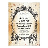 Wedding Halloween Gothic Frame Vintage Invite