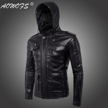 Men's Jacket European New High-end Men's Motorcycle Hooded Men's Leather Jacket hot