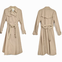 Vintage Tan Trench Coat / Double Breasted Trench Coat / Rain Jacket - women's large