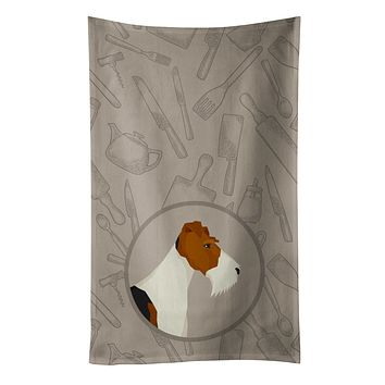 Fox Terrier In the Kitchen Kitchen Towel CK2185KTWL