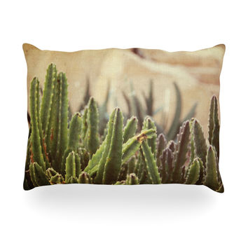 "Jillian Audrey ""Green Grass Cactus"" Green Brown Oblong Pillow"