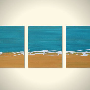 Triptych TURQUOISE and GOLD Original Abstract Beach Art Canvas Acrylic Painting - 3 Panel 8 x 10: Pacific Sands II