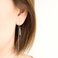 Tiny Bar Ear Thread, Gold / Silver Chain Earrings, ET gj