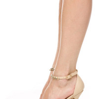 NUDE ANKLE STRAP POINTED TOE HEELS