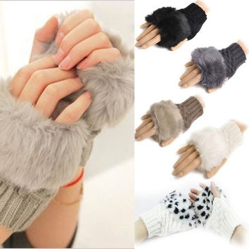 Women Winter New Faux Rabbit Fur/Villi Gloves Arm Warmer Fingerless Wrist Gloves-Knitted Fur Trim Gloves Mitten Knitted Wrist Un = 1958121092