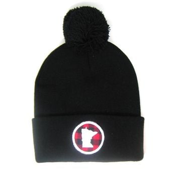 Minnesota Beanie Black- Red Plaid Patch Pom Pom Hat