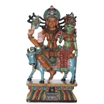 HINDU GOD SHIVA PARVATHI  BIG STATUE WOODEN HAND CARVED