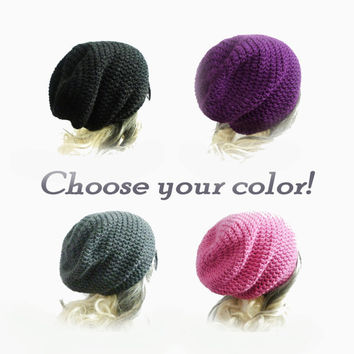 Slouchy Beanie CHOOSE YOUR COLOR pick any color Custom Size Crochet Slouch Hat mens Womens Teen Girl