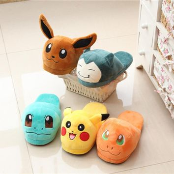 Cute Pokemon Go Soft Plush Slippers Warm Hat Indoor Home Shoes Costume Xmas Gift for a