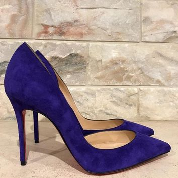 NIB Christian Louboutin Iriza 100 Purple Pop Suede D'Orsay Heel Pump Shoe 37.5