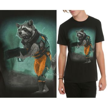 Licensed cool NEW MARVEL GUARDIANS OF THE GALAXY ROCKET Raccoon W/Gun  Men's T-SHIRT Tee XS-2X