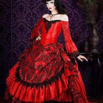 Custom Made Red Gothic Victorian Steampunk Antoinette Fantasy Masquerade Gown Wedding Party Dresses