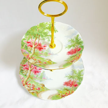 "Enchanting Royal Standard ""Springs Gifts"" two tiered cake stand, jewelery stand, cupcake stand"