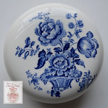 Charlotte Floral Blue Transferware Vintage English Transferware BATH Jar / Powder Dish / Canister Soap Dish Basket of Roses