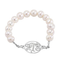10.0mm Cultured Freshwater Pearl Monogram Bracelet in Sterling Silver (3 Initials) - 7.5