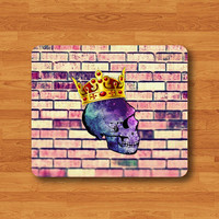 Hipster King Skull Galaxy Mouse Pad Art Wall Brick Crown Rubber MousePad For Girl Desk Deco Work Pad Mat Rectangle Customized Personal Gift