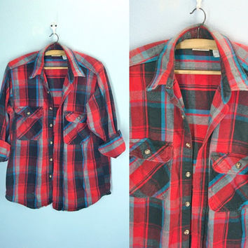 Vintage Flannel Shirt / Flannel Jacket / Lumberjack Plaid / Medium