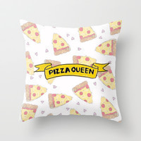 Pizza Queen Throw Pillow by Courtney Burns