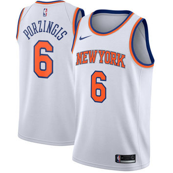 Men's New York Knicks Kristaps Porzingis Nike White Swingman Jersey - Association Edition