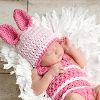 Winnie the Pooh's Piglet Crochet Newborn baby outfit set