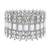 Crystal Stretch Cuff Vintage Fashion Bracelet White: Jewelry: Amazon.com