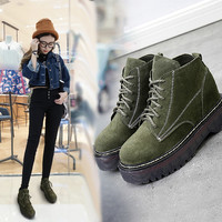 On Sale Hot Deal Height Increase Winter Korean Shoes England Style Dr. Martens Flat Boots [8939352454]