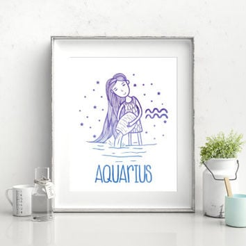 Aquarius zodiac sign, 8x10 digital print, instant download, printable poster, typography, watercolor, astrology