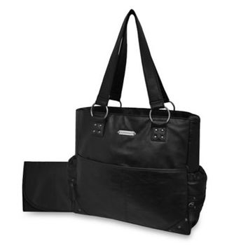 Wendy Bellissimo™ Silver Studded Diaper Tote in Black