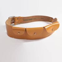 Vintage 90s Leather BELT / 1990s Butterscotch Leather Pouch Belt