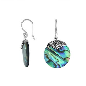 AE-6239-AB Sterling Silver Round Earring With Abalone Shall