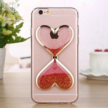 Love Heart Phone Cases For iPhone 6 Case 6s Plus SE 5 5s Dynamic Liquid Sand Cover For iPhone 7 Case