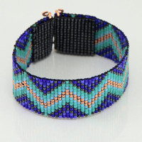 The Blues Zig Zag Tribal Style Bead Loom Bracelet Artisanal Jewelry Native Motif Western Beaded Gypsy Boho Bohemian Native American