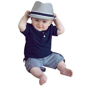 Baby Boy Clothes Summer Newborn Baby Clothes Set Solid Polo Shirt with Striped Pant