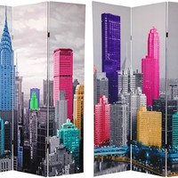 6 ft. Tall Colorful New York Scene Room Divider | RoomDividers.com
