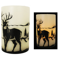 "4""x6"" Led Painted Deer Candle"